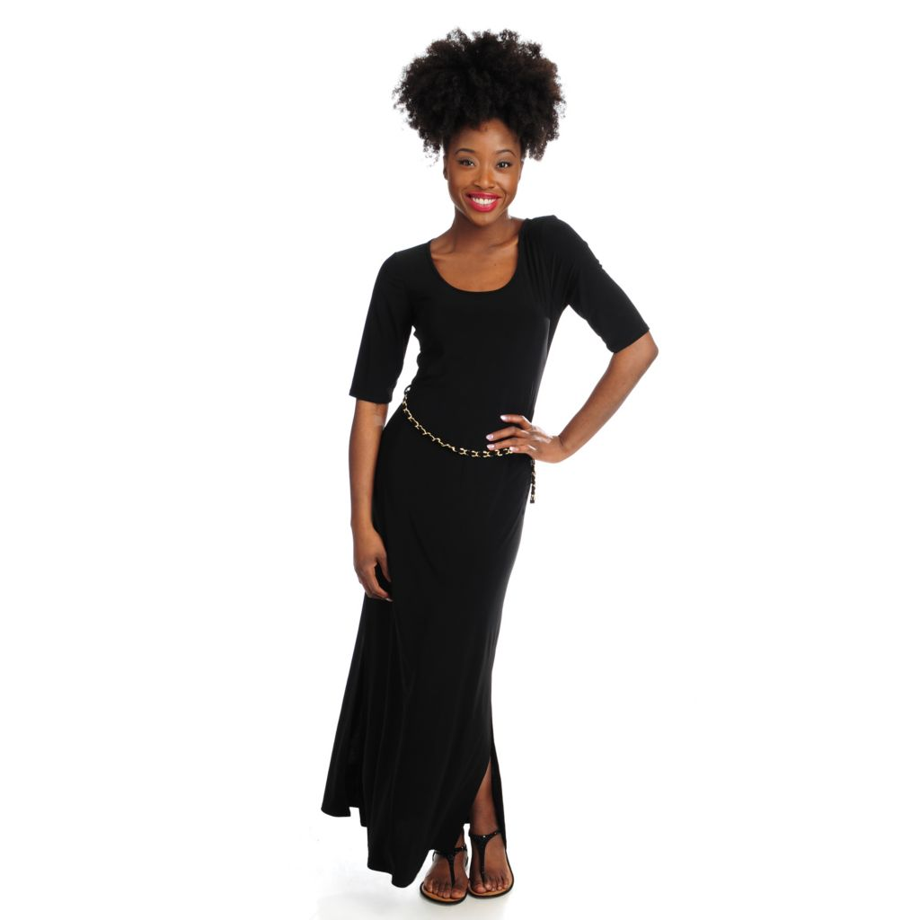716-520 - aDRESSing WOMAN Stretch Knit Elbow Sleeved Maxi Dress w/ Chain Belt