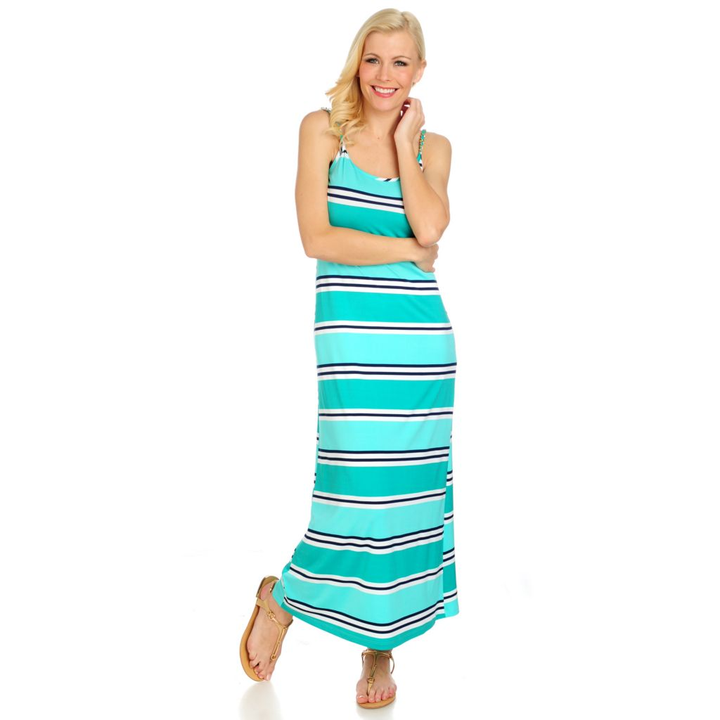 716-521 - aDRESSing WOMAN Stretch Knit Sleeveless Chain Detailed Maxi Dress