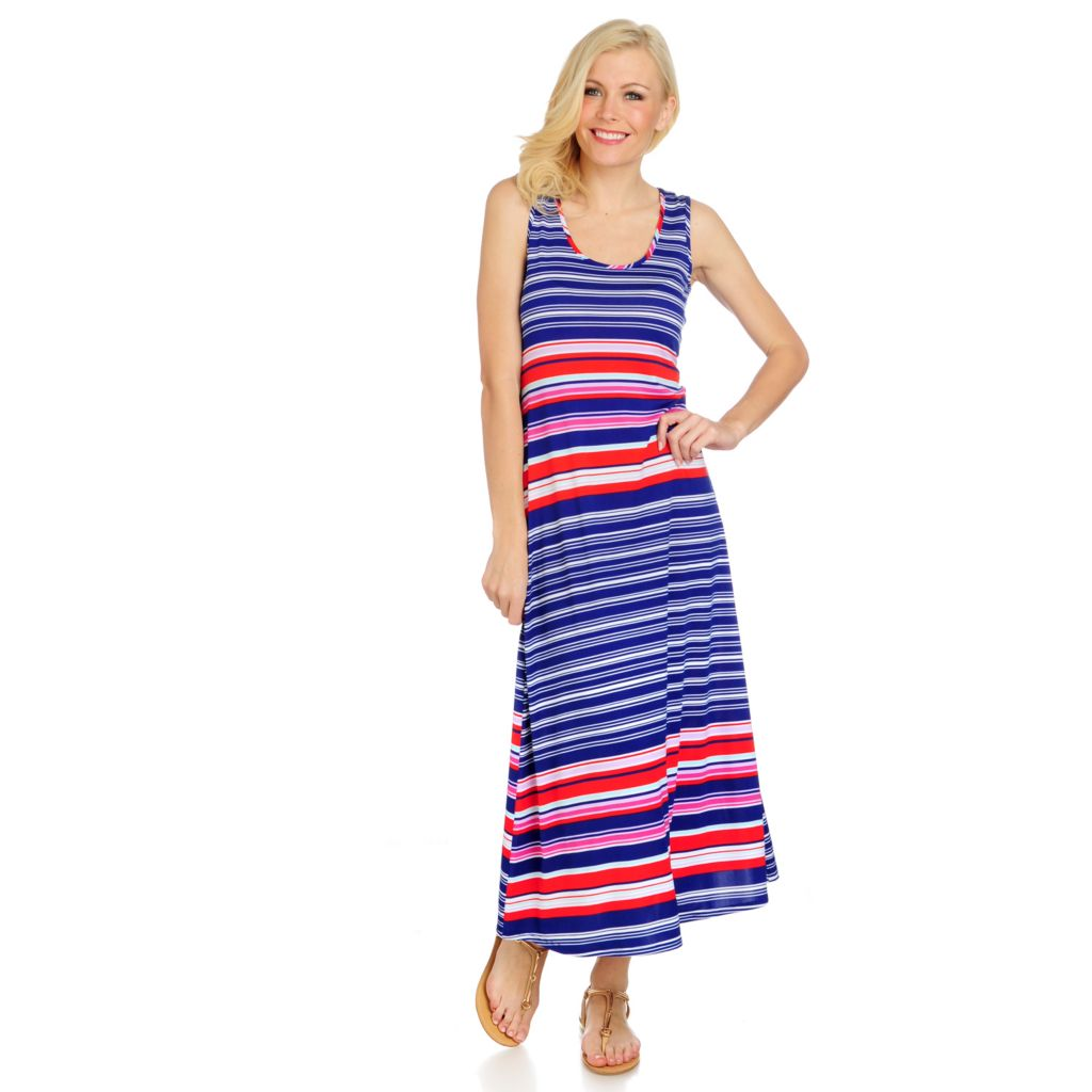 716-522 - aDRESSing WOMAN Stretch Knit Sleeveless Printed Maxi Dress