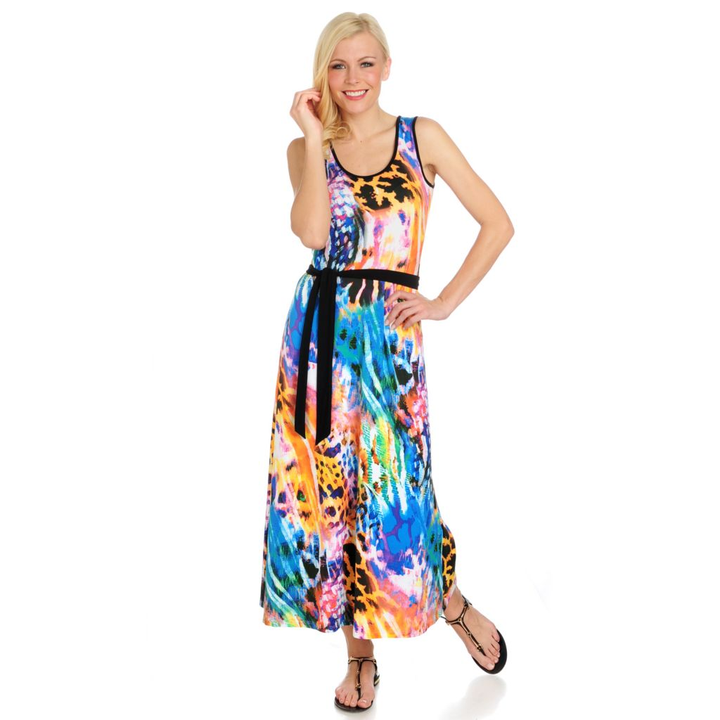 716-524 - aDRESSing WOMAN Printed Knit Sleeveless Self-Tie Belt Mid-Length Dress