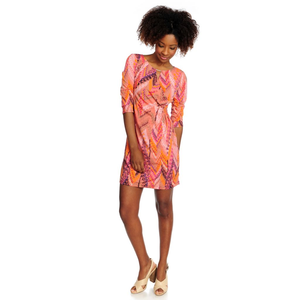 716-526 - aDRESSing WOMAN Stretch Knit 3/4 Sleeved Faux Wrap Printed Dress