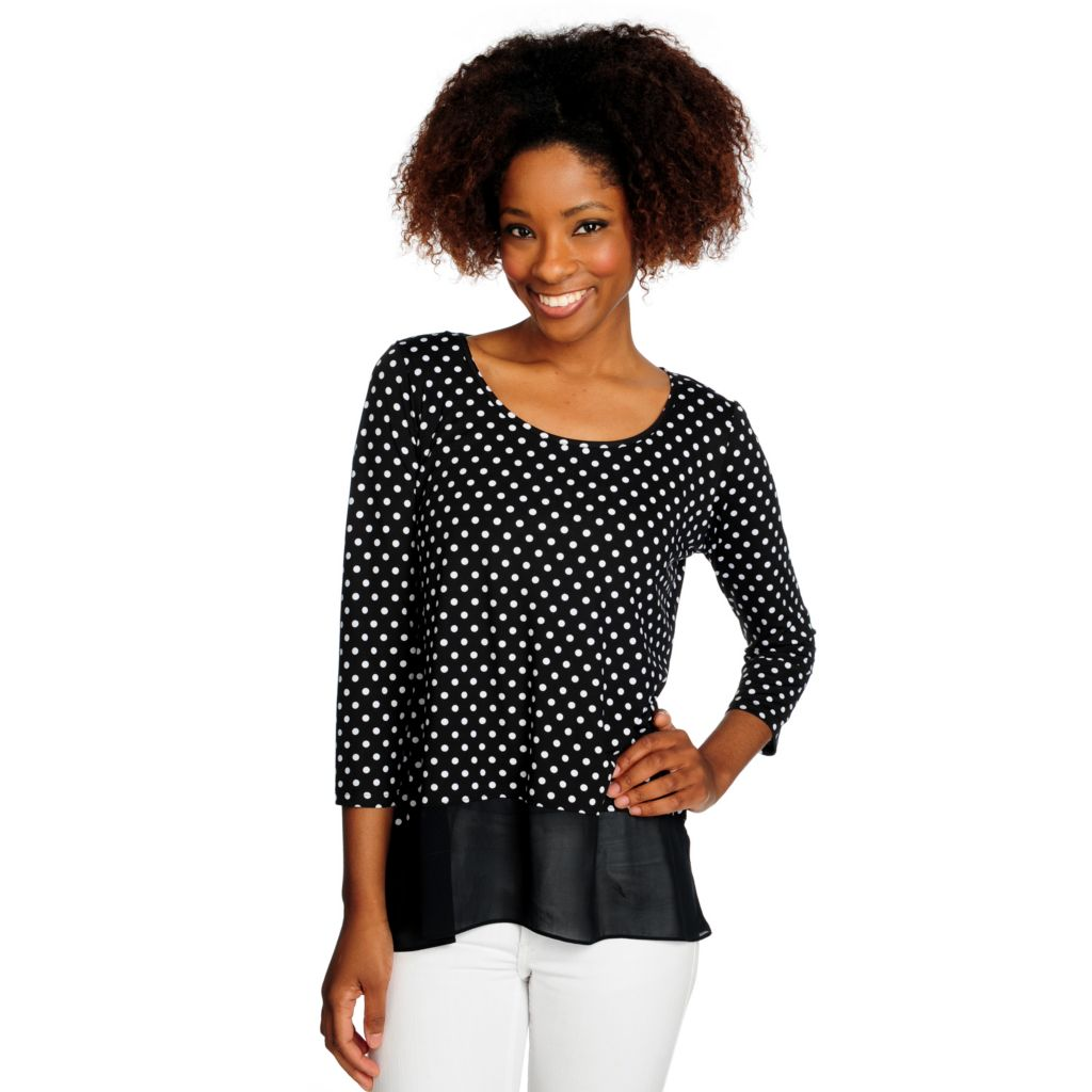 716-529 - aDRESSing WOMAN Printed Knit 3/4 Sleeved Scoop Neck Hi-Lo Top