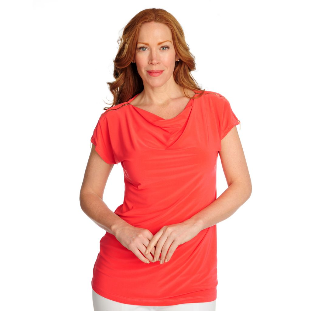 716-530 - aDRESSing WOMAN Stretch Knit Short Sleeved Zipper Detail Drape Neck Tunic