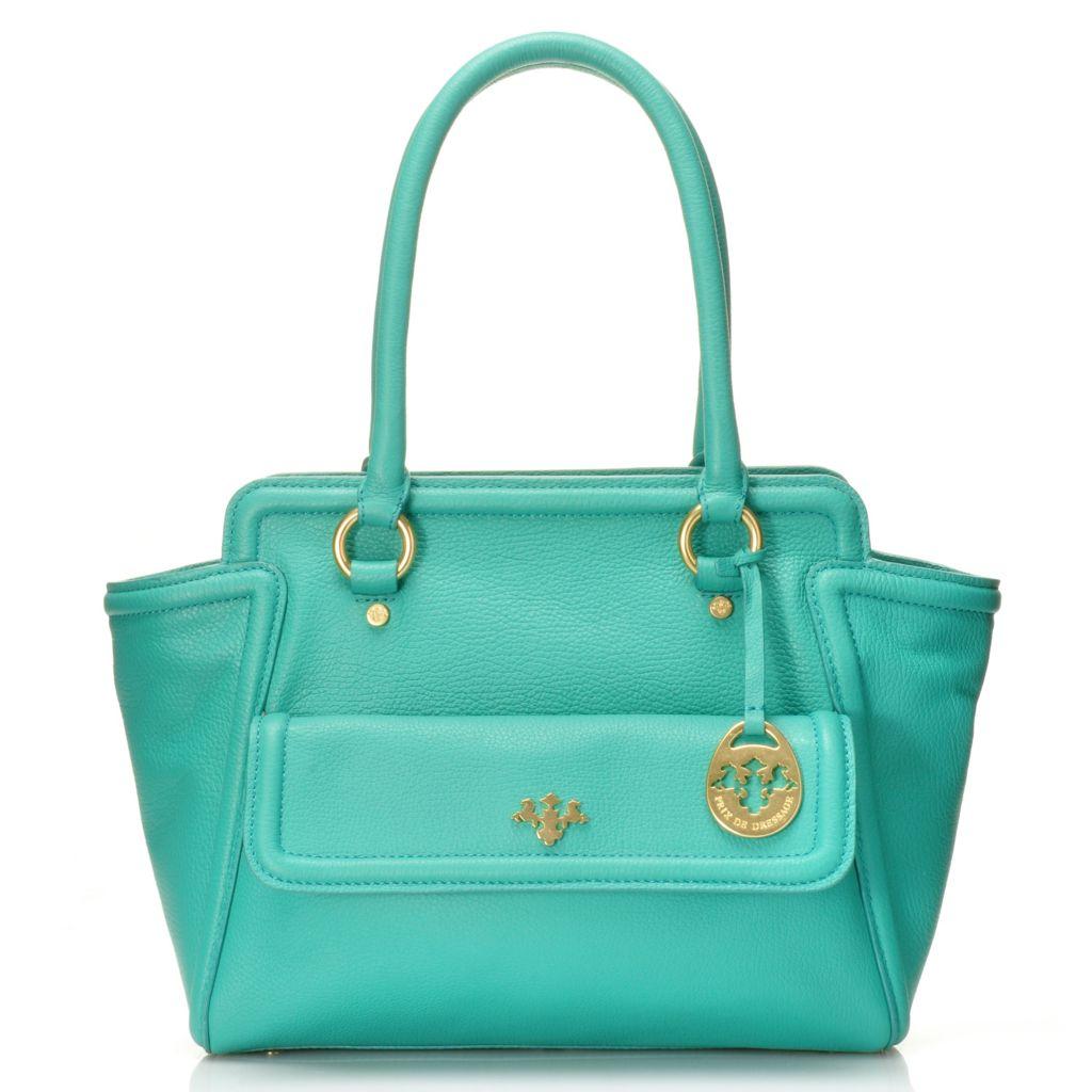 716-534 - PRIX DE DRESSAGE Pebbled Leather Double Handle Zip Top Shopper Tote Bag