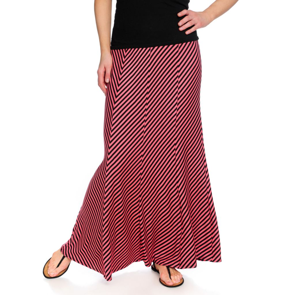 716-541 - Kate & Mallory Stretch Knit Pieced Pull-on Striped Maxi Skirt