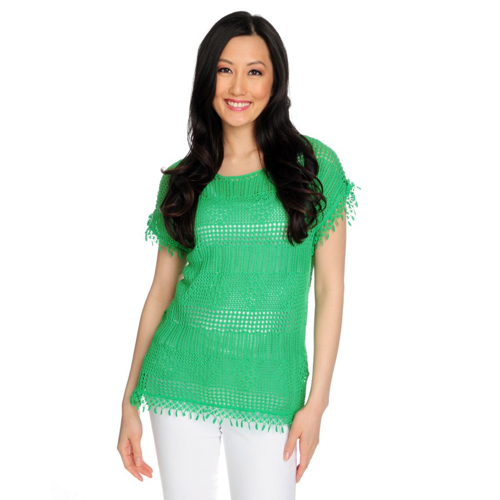 716-542 - Kate & Mallory Mixed Stitch Knit Short Sleeved Lace Detail Pullover Sweater