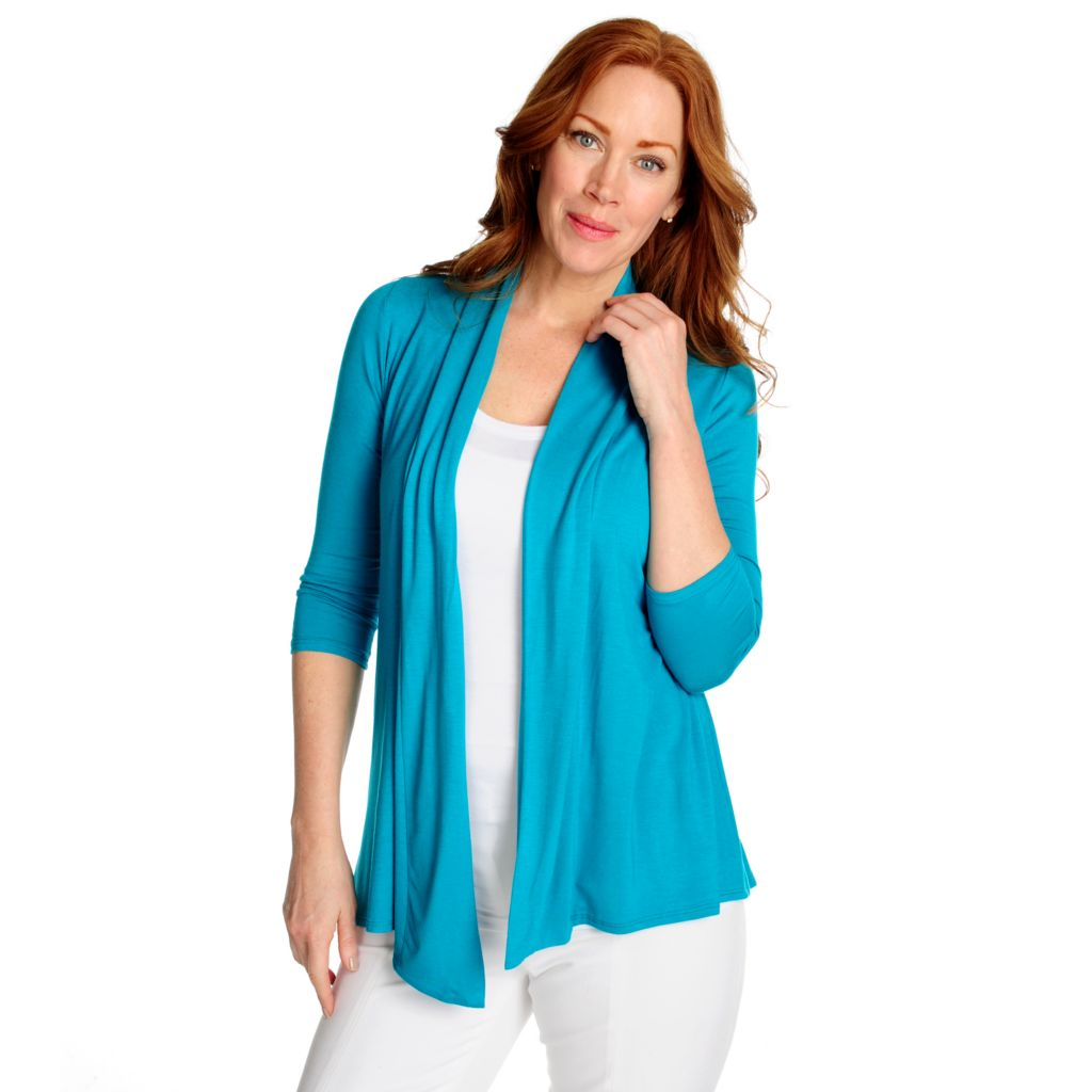 716-545 - OSO Casuals Stretch Knit 3/4 Sleeved Smocked Back Cardigan