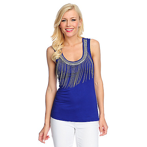 716-556 - Glitterscape® Stretch Knit Chain Fringe & Necklace Detailed Tank Top