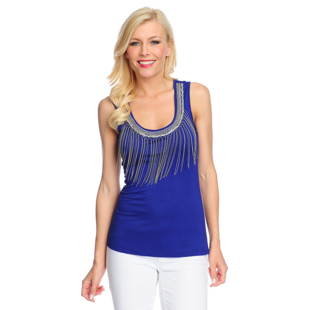 716-556 - Glitterscape Stretch Knit Chain Fringe & Necklace Detailed Tank Top