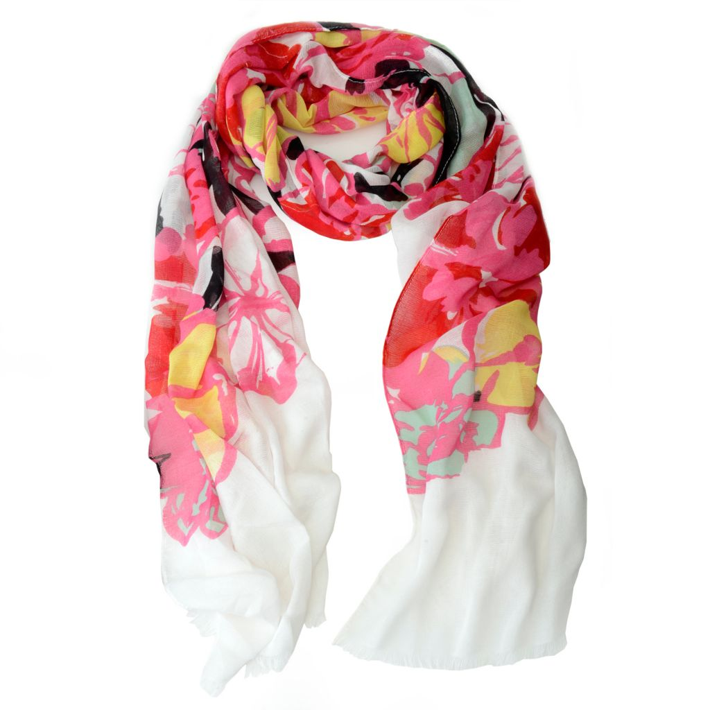 "716-573 - Collection XIIX Multi Color Floral Design 83"" Scarf"
