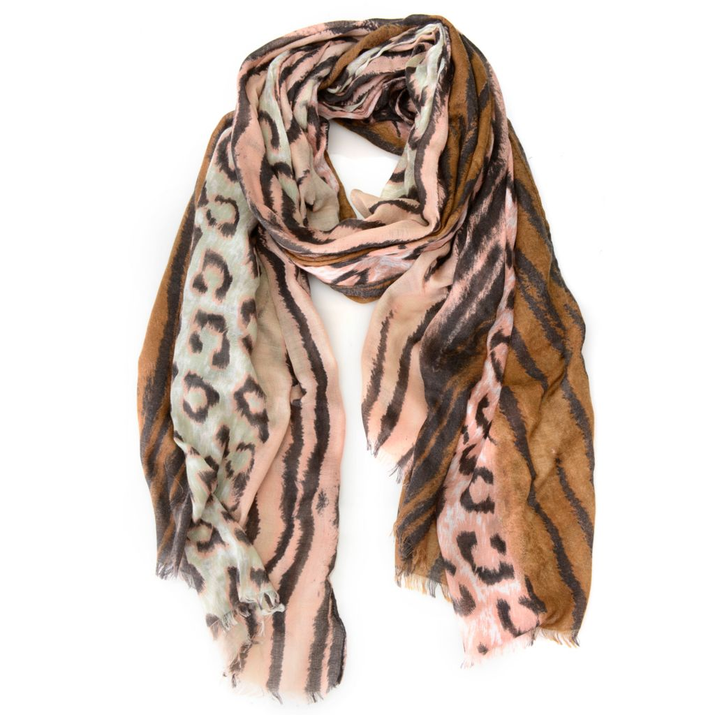 "716-575 - Collection XIIX Woven 70"" x 45"" Animal Hybrid Print Scarf"