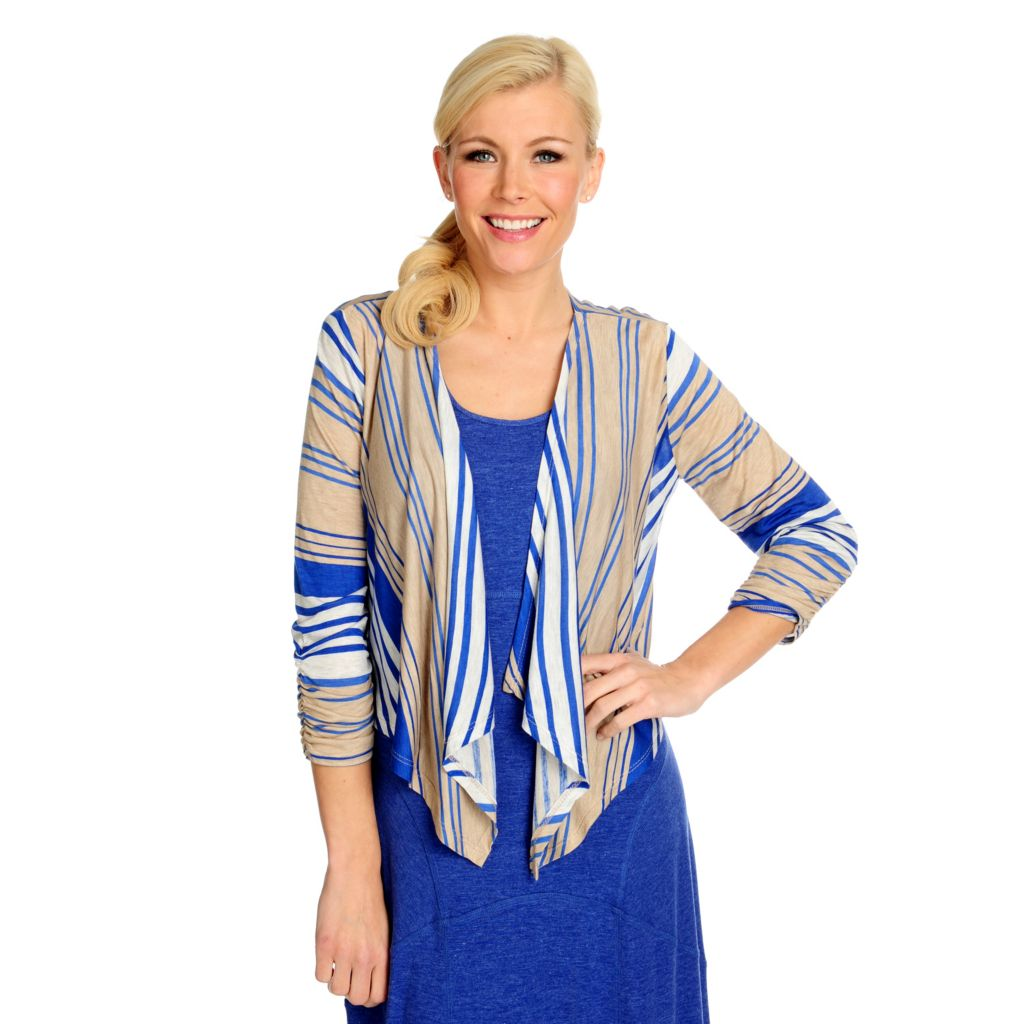 716-581 - Propella™ Striped Knit 3/4 Sleeved Cascade Front Cropped Cardigan