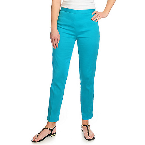 716-600 - Kate & Mallory Stretch Cotton Side Vent Zip Closure Ankle Length Pants