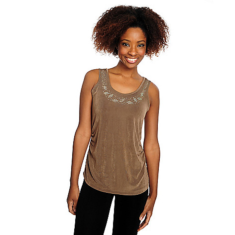 716-602 - Affinity for Knits™ Ruched Side Embellished Scoop Neck Tank Top