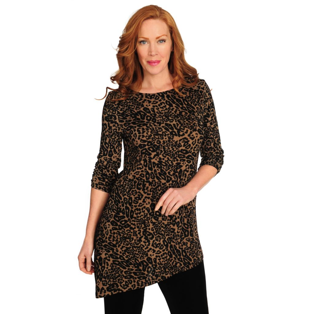 716-603 - Affinity for Knits™ 3/4 Sleeved Ruched Detail Asymmetrical Hem Tunic