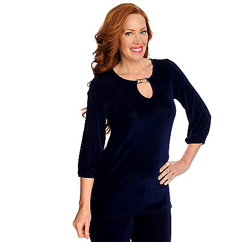 716-605 - Affinity for Knits™ 3/4 Sleeved Hardware Detailed Keyhole Neck Tunic