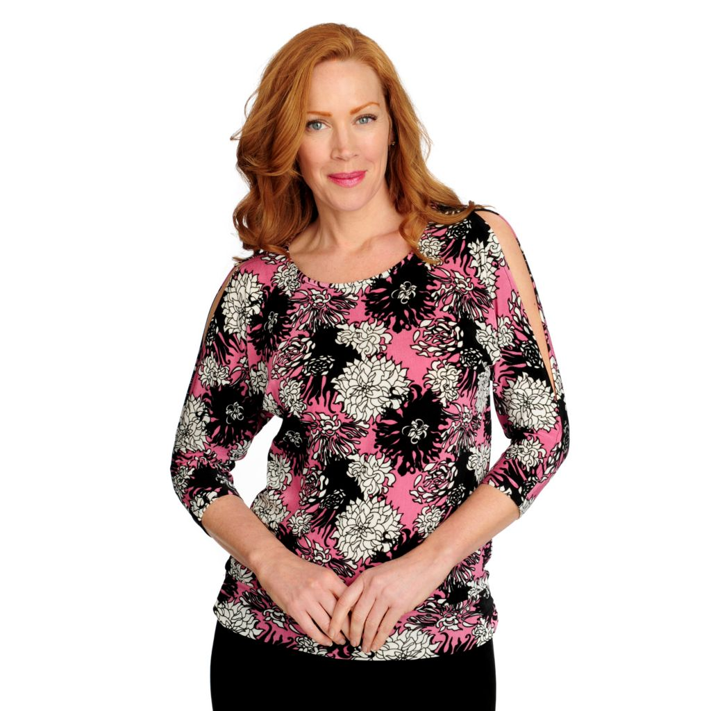 716-606 - Affinity for Knits™ 3/4 Sleeved Cold Shoulder Banded Bottom Top