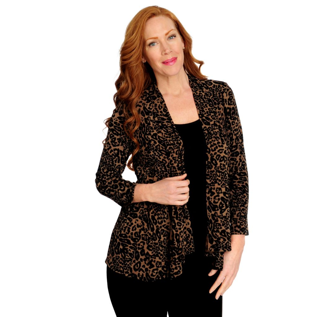 716-607 - Affinity for Knits™ 3/4 Sleeved Open Front Seam Detailed Cardigan