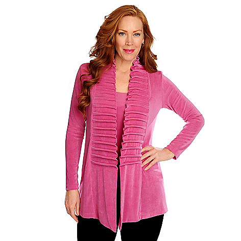 716-608 - Affinity for Knits™ Essentials Long Sleeved Pinch Pleat Detail Open Cardigan