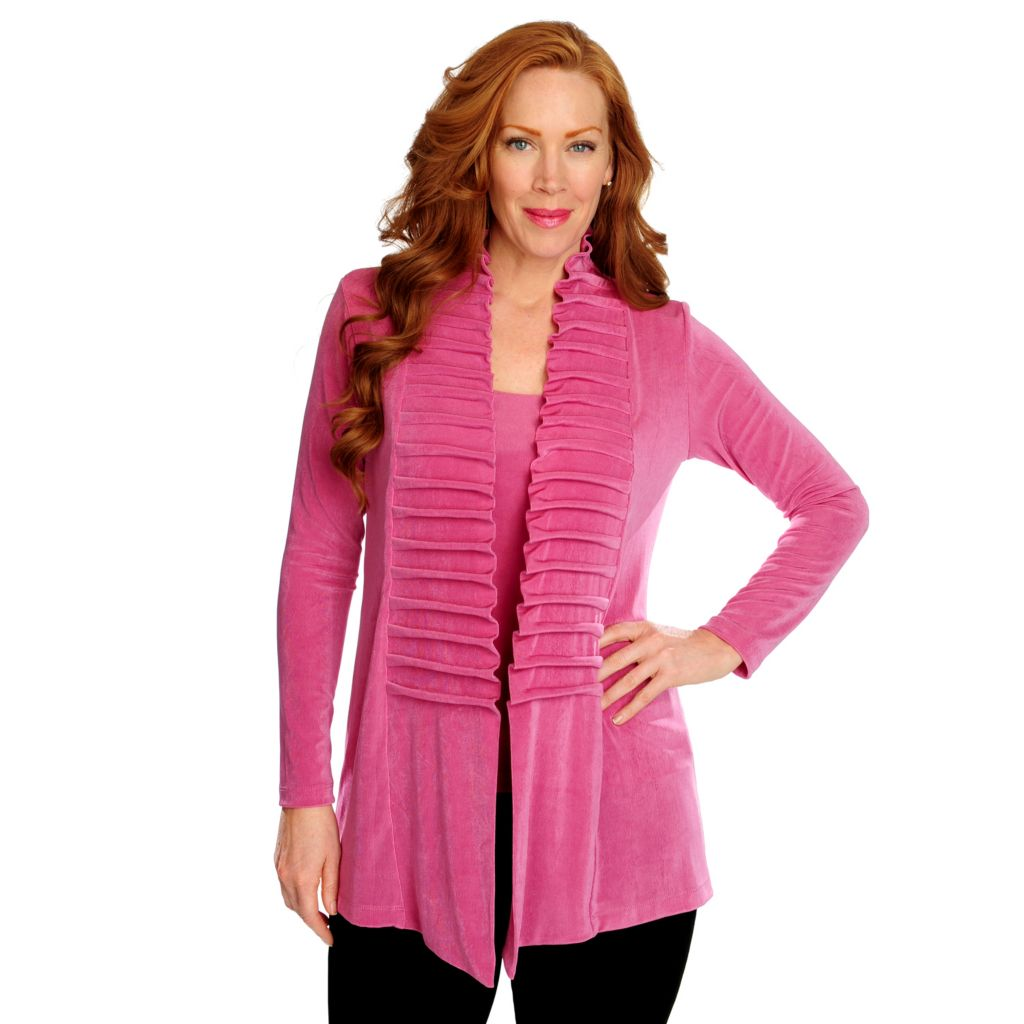 716-608 - Affinity for Knits™ Long Sleeved Pinch Pleat Detailed Front Open Cardigan