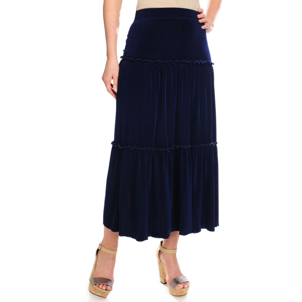 716-613 - Affinity for Knits™ Pull-on Elastic Waist Three-Tiered Peasant Skirt