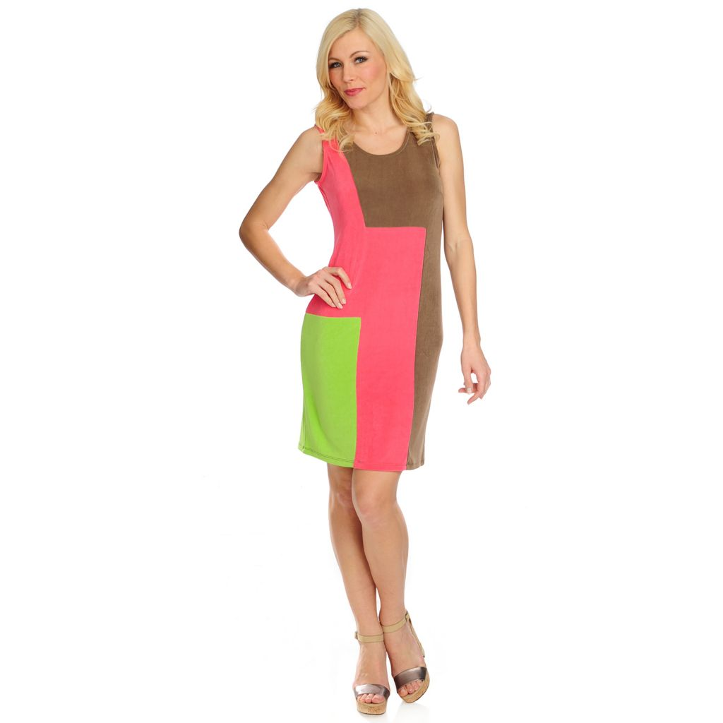 716-616 - Affinity for Knits™ Sleeveless Color Block Knee Length Shift Dress