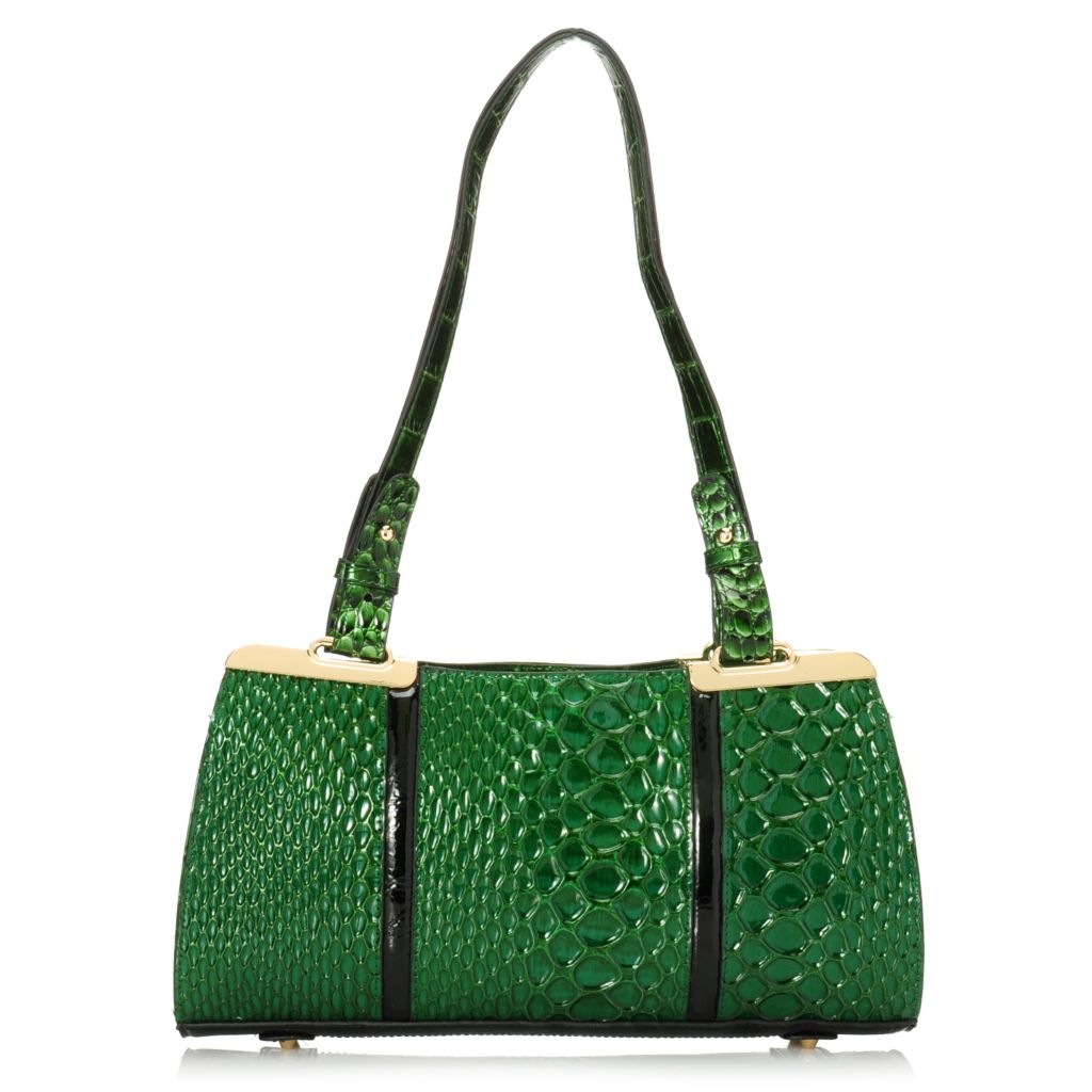 716-624 - Madi Claire Reptile Embossed Leather Double Handle Zip Top Shoulder Bag