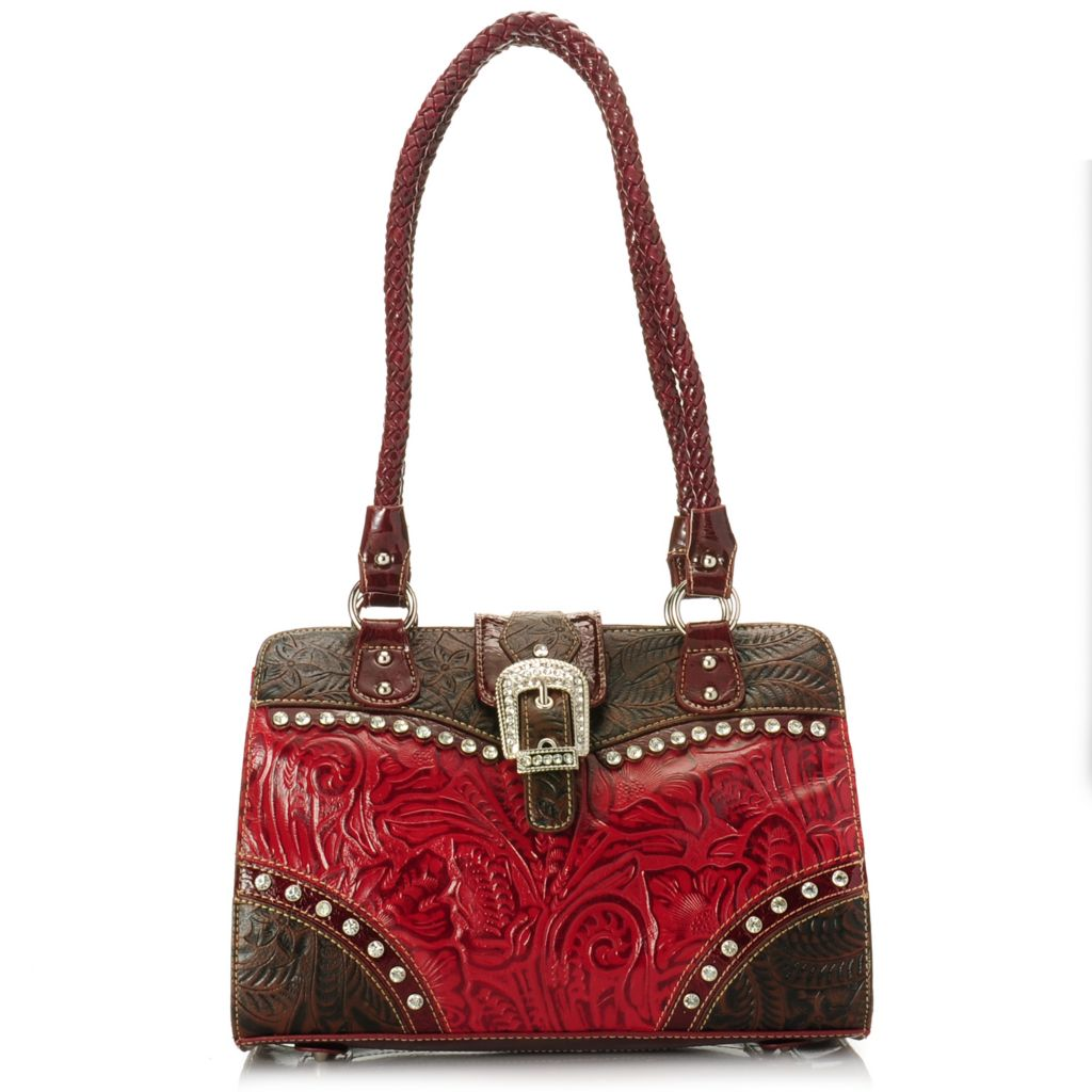 716-625 - Madi Claire Tool Embossed Leather Rhinestone Embellished Tote Bag
