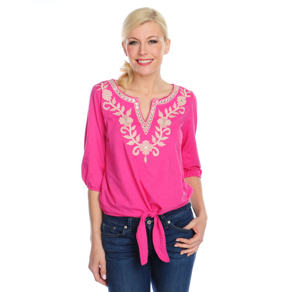 716-651 - OSO Casuals Slub Knit 3/4 Sleeved Tie-Hem Embroidered Top