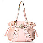 716-655 - Kathy Van Zeeland Lizard Embossed Rhinestone & Stud Embellished Shopper Tote Bag