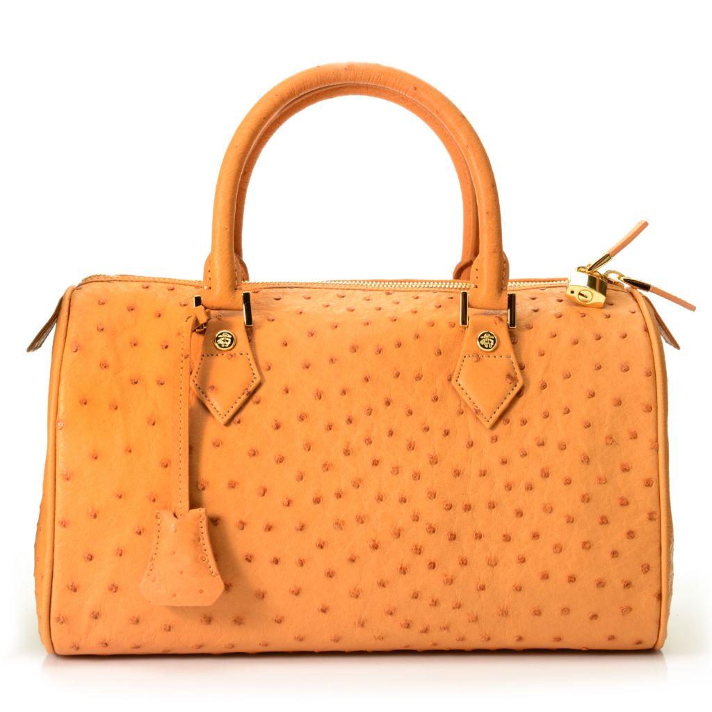 716-668 - Brooks Brothers® Ostrich Leather Zip Top Double Handle Lock Detail Barrel Satchel