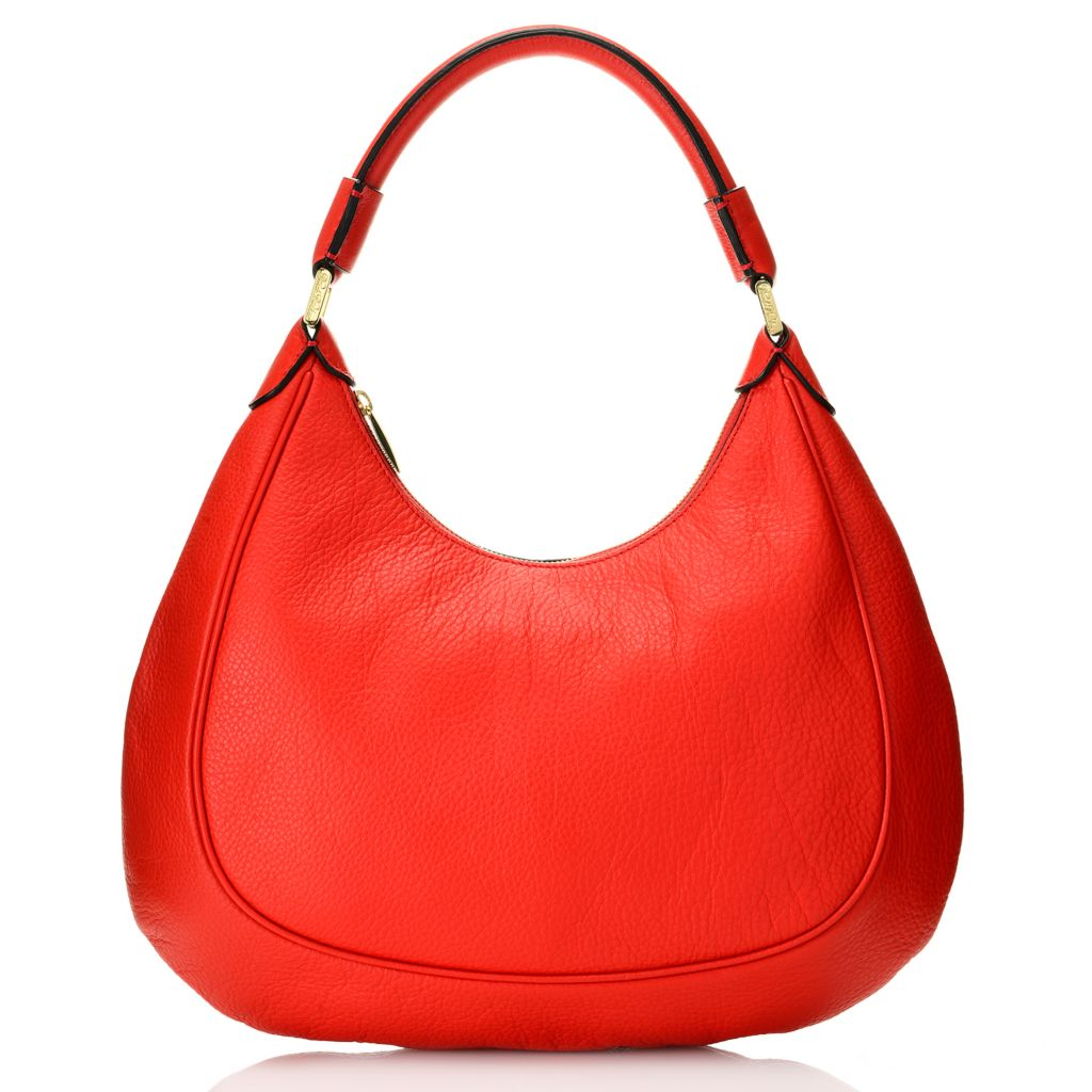 716-669 - Brooks Brothers® Pebbled Calfskin Leather Zip Top Hobo Handbag