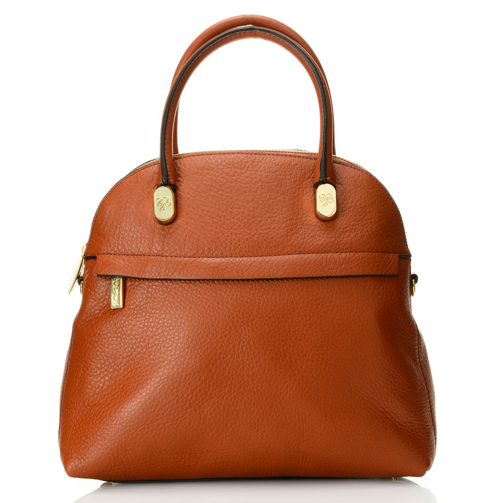 716-670 - Brooks Brothers® Pebbled Calfskin Leather Zip Top Dome Satchel w/ Shoulder Strap