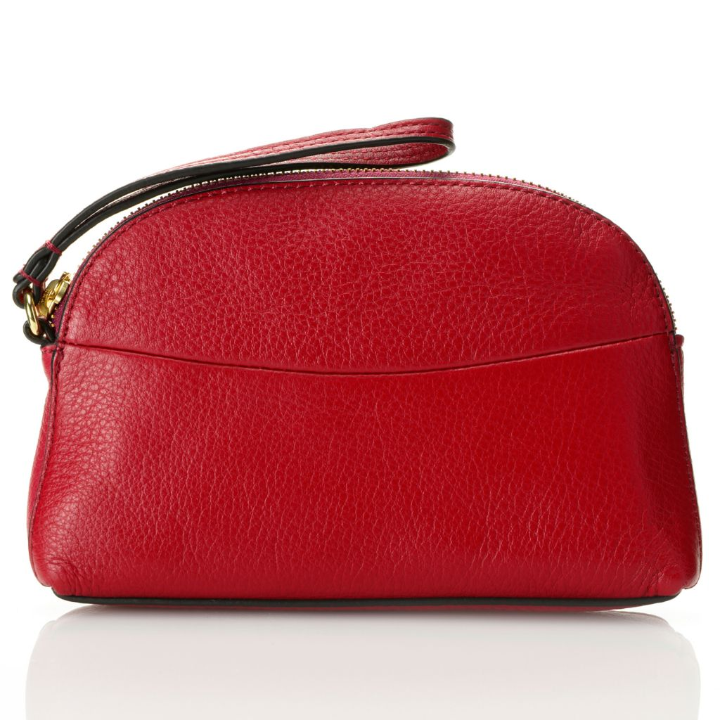 716-673 - Brooks Brothers® Pebbled Calfskin Leather Zip Top Wristlet Clutch