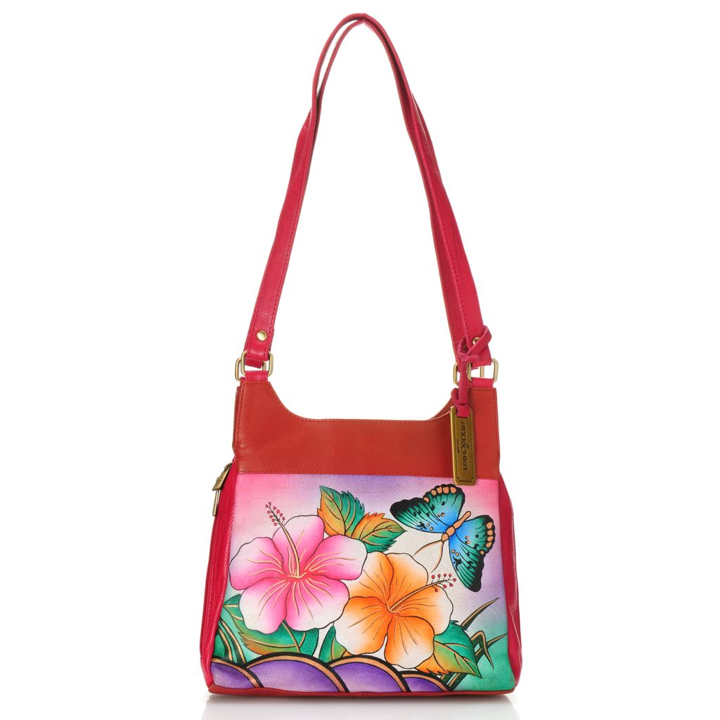 716-676 - Anuschka Hand-Painted Leather Zip Around Multi Compartment Hobo Handbag