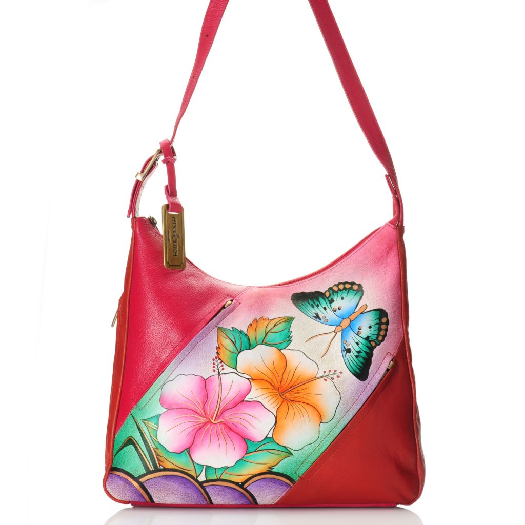 716-677 - Anuschka Hand-Painted Leather Zip Top Diagonal Design Hobo Handbag