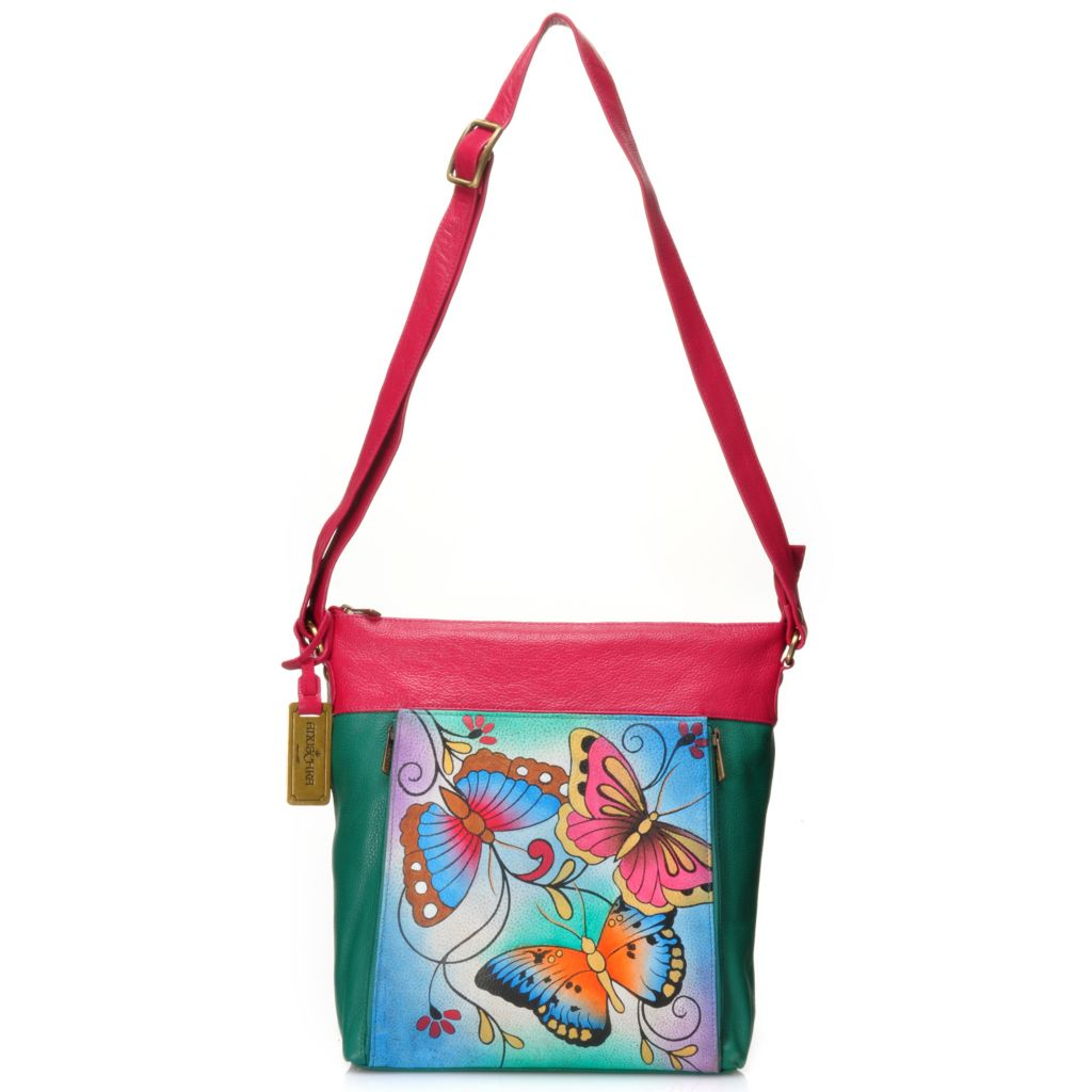 716-678 - Anuschka Hand-Painted Leather Zip Top Cross Body Organizer Bag