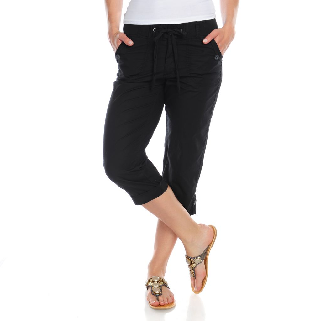 716-698 - OSO Casuals Poplin Woven Button Hem Drawstring Waist Ribbed Trim Capris