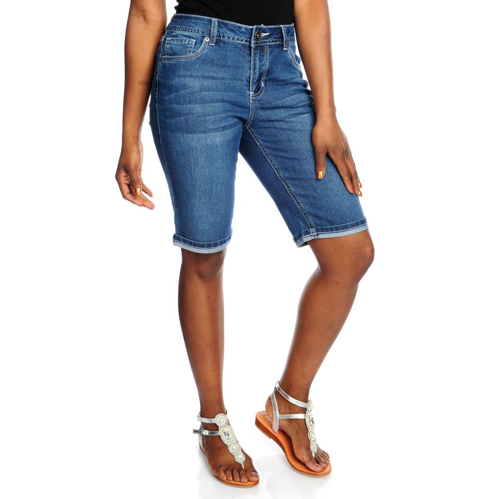716-700 - OSO Casuals Stretch Denim Embroidered Flap Pocket Bermuda Shorts