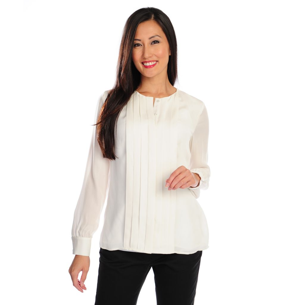 716-722 - Brooks Brothers® 100% Silk Long Sleeved Button Front Pleated Blouse