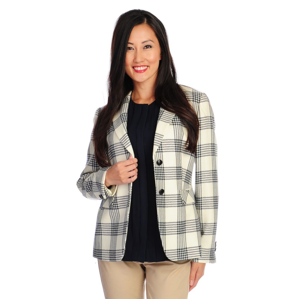 716-728 - Brooks Brothers® Wool Long Sleeved Two-Button Plaid Blazer