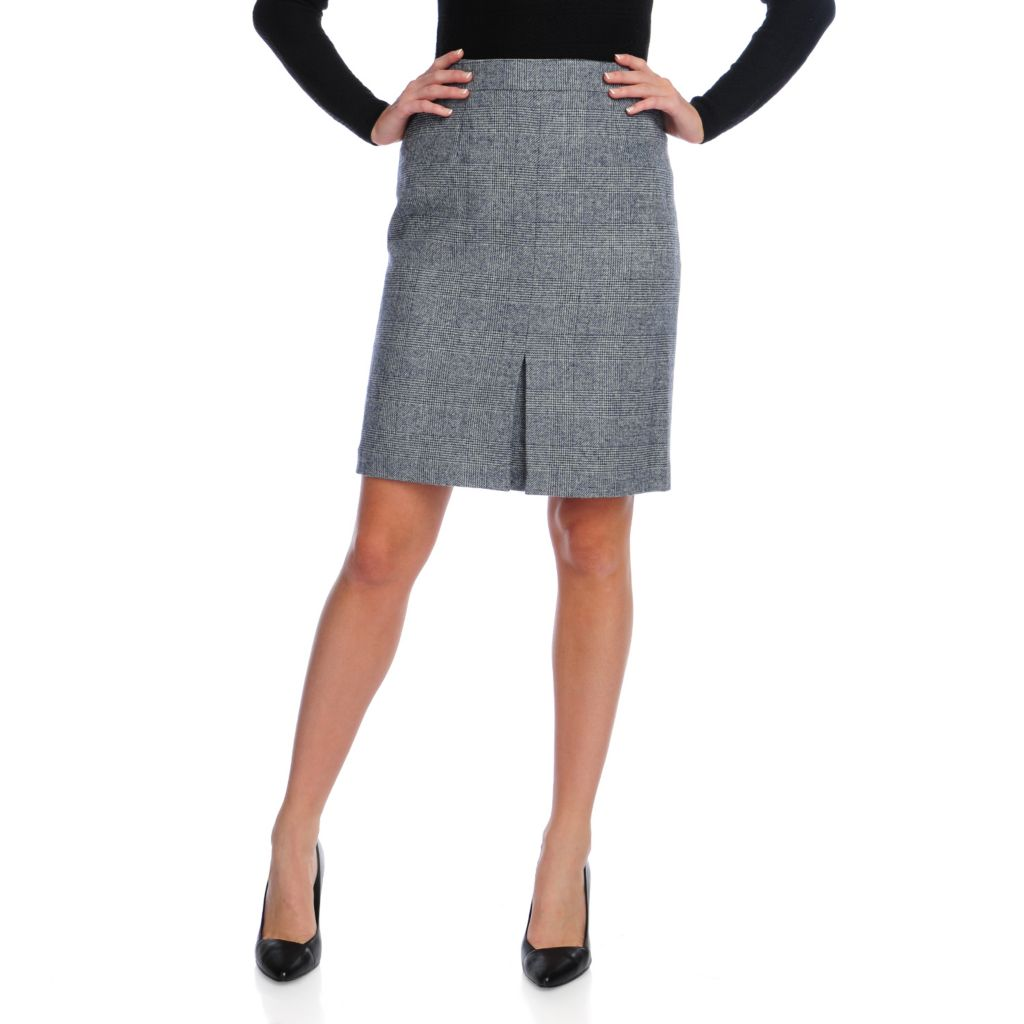 716-729 - Brooks Brothers® 100% Wool Fully Lined Inverted Pleat Plaid Pencil Skirt