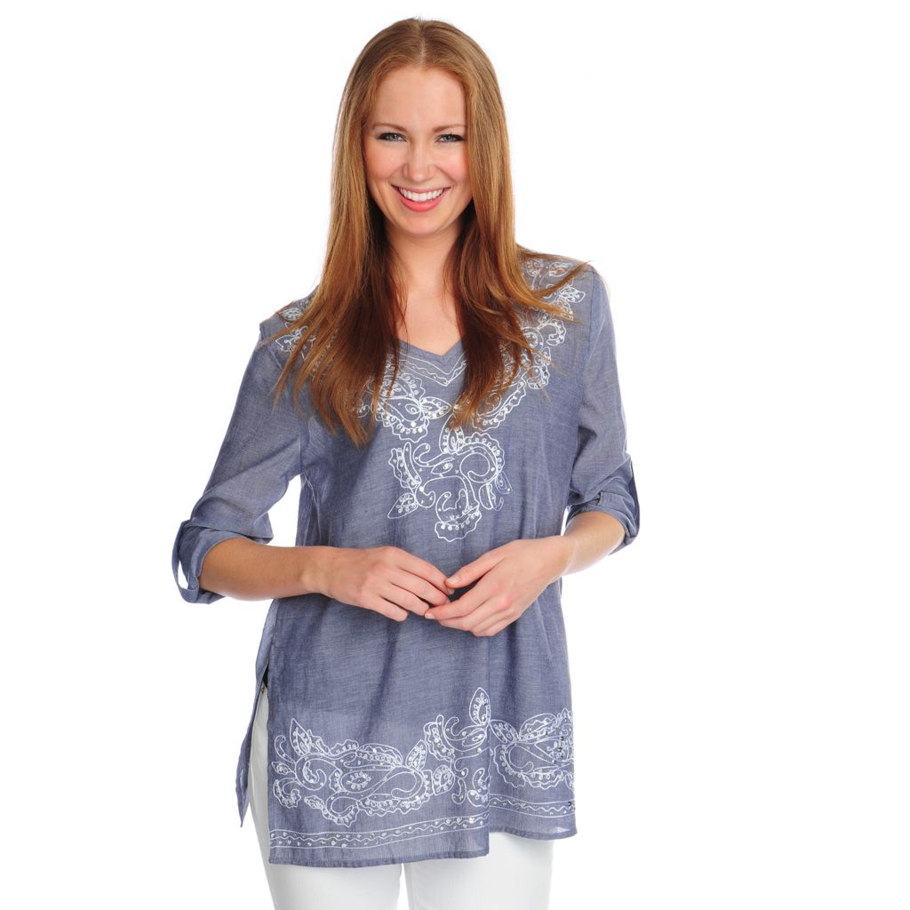 716-730 - OSO Casuals Cotton Chambray Roll Tab Sleeved Embroidered V-Neck Tunic