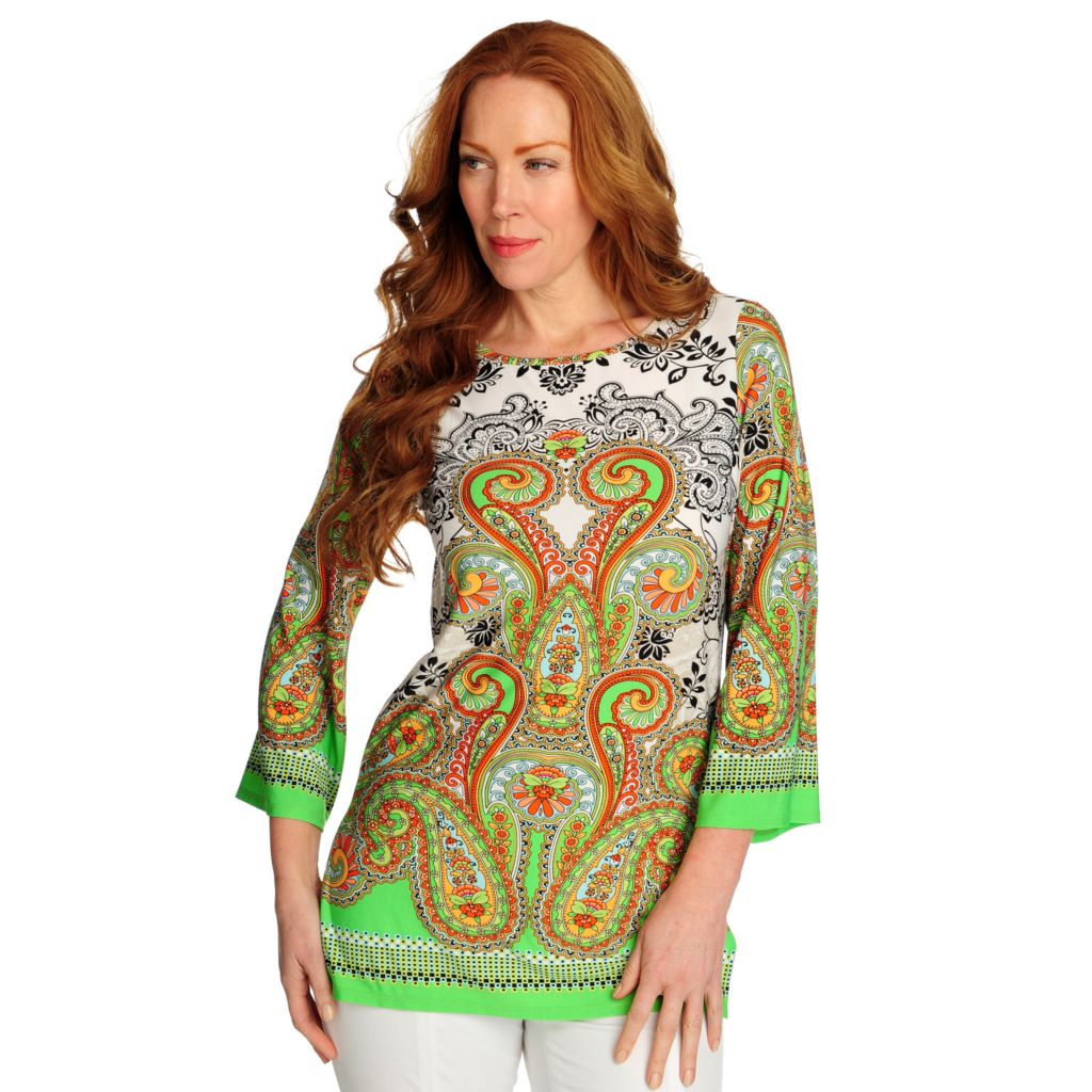 716-732 - Kate & Mallory Stretch Knit Wide Sleeved Side Slit Printed Tunic