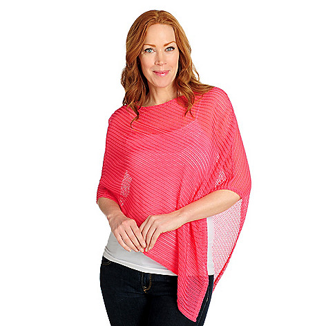 716-734 - Kate & Mallory Can Can Knit Asymmetrical Pull-over Sheer Poncho
