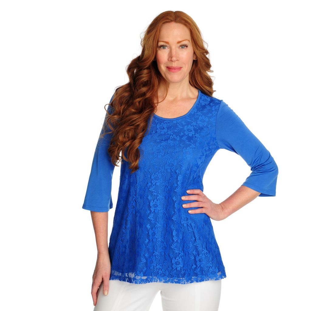 716-737 - Kate & Mallory Stretch Knit 3/4 Sleeved Scoop Neck Lace Front Top