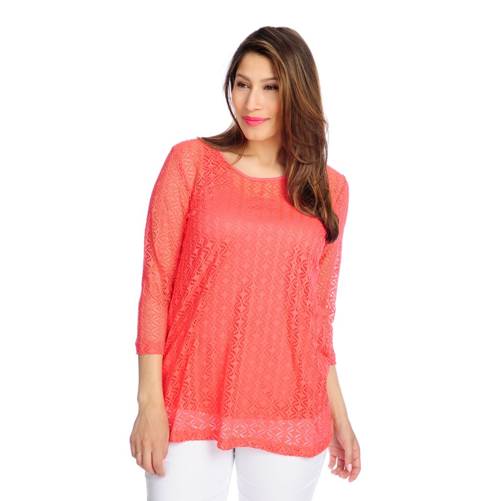 716-738 - Kate & Mallory Open Stitch Knit 3/4 Sleeved Top w/ Knit Tank