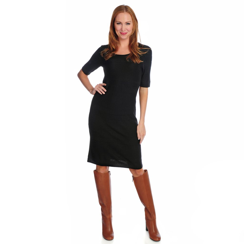 716-745 - Brooks Brothers® Textured Knit Elbow Sleeved Round Neck Shift Dress
