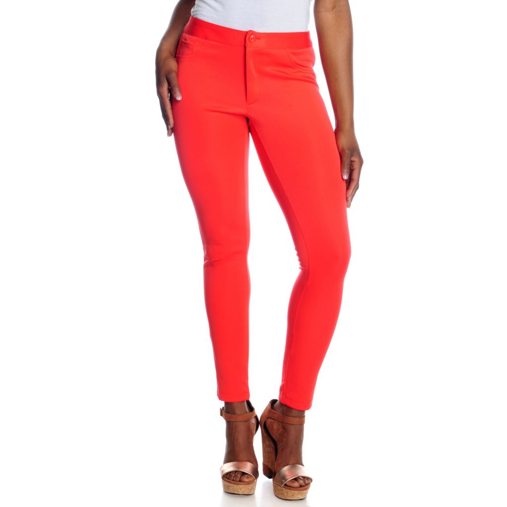 716-754 - Kate & Mallory Techno Knit Ankle Length Zip Fly Skinny Pants
