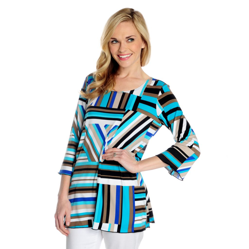 716-755 - Kate & Mallory Stretch Knit Bell Sleeve Printed Scoop Neck Top